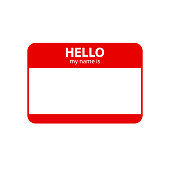 Hello my name is. Inscription in badge in red color