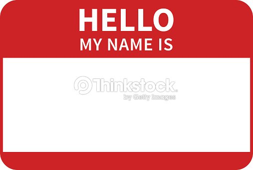 hello my name is introduction red flat label vector art thinkstock