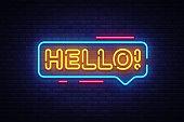 Hello Neon Text Vector. Hello neon sign, design template, modern trend design, night neon signboard, night bright advertising, light banner, light art. Vector illustration.