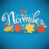 hello November, bright fall leaves and lettering composition flyer or banner