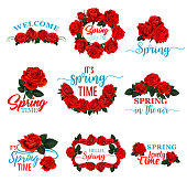Hello Spring floral frame icon set with red rose flower. Floral wreath of Springtime blossom with red flower, green leaf and branch isolated badge for Spring Season holiday design