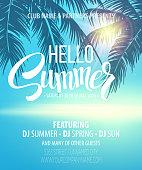 Hello Summer Beach Party Flyer. Vector Design EPS 10