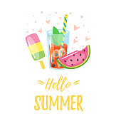 Vector cartoon style Hello Summer design for season postcard or poster with ice cream, cocktail and slice of watermelon. Colorful vibrant template for print.