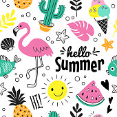Vector seamless pattern with funny summer symbols, such as flamingo, ice cream, cactus, pineapple and watermelon in doodle style. Isolated  on white.