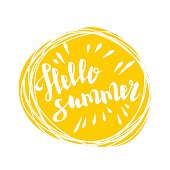 Hello summer time lettering comic text font in yellow speech bubble. Eco, bio party label tag advertising. Colored vector illustration isolated on white background. Cartoon juice colored fresh mood.