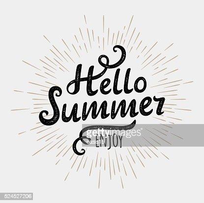 Olá Verão, tipográficas inscrição no fundo de sol vintage, monocromático : Arte vetorial