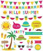 Hello summer vector design elements