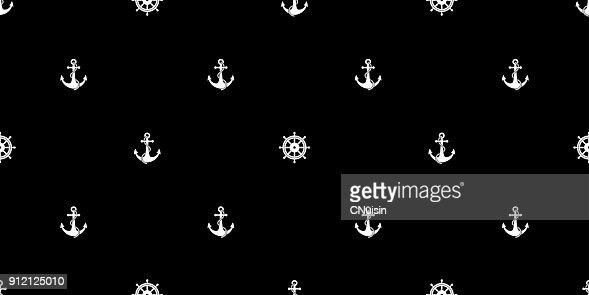 Helm Anchor Vector Seamless Pattern Maritime Nautical Boat Sea Ocean