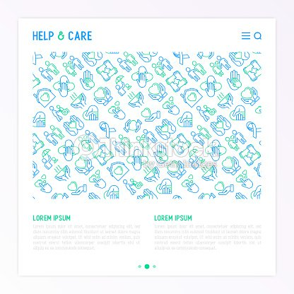 Help And Care Concept With Thin Line Icons Symbols Of Support Help
