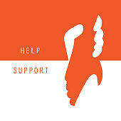 Help and support hands holding together vector graphic design background.