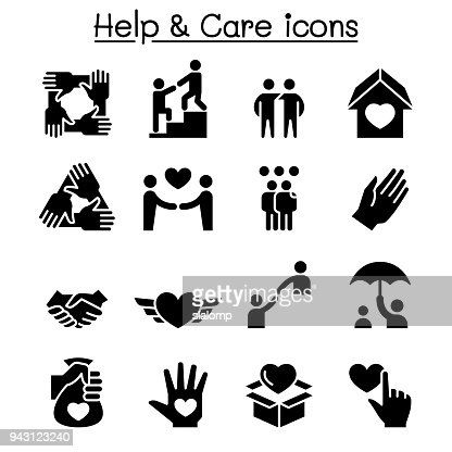 Help, care, Friendship, Generous & Charity icon set : stock vector