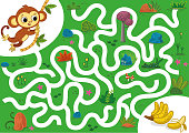 Help the monkey to rich bananas. Vector illustration puzzle game for kids.