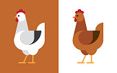 Hen illustration in white and brown colors. Chicken flat icon.