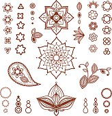 Different types of flowers, petals, buds, leaves for mehndi tattoo design.