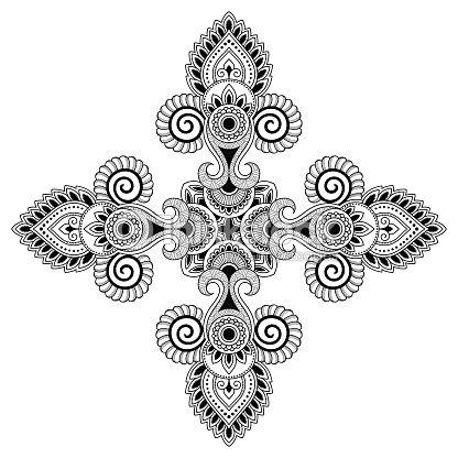 Mandala Del Tatuaje De Henna Estilo De Mehndi Patrón Decorativo En ...