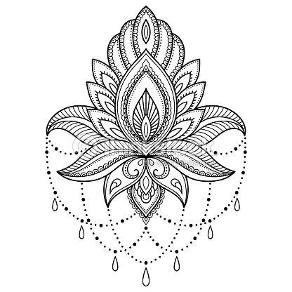 インド風のヘナタトゥー花テンプレートエスニック花柄ペイズリー