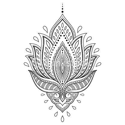 ヘナタトゥーフラワーテンプレートでインドのスタイルです民族ペイズリー