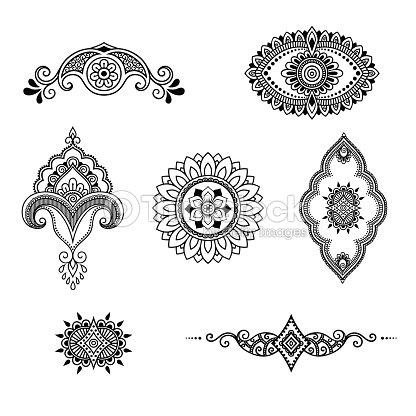 ヘナ タトゥーの花テンプレート一時的な刺青スタイル装飾的な