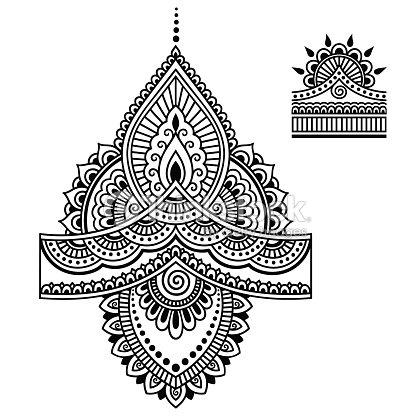 ヘナタトゥーフラワー テンプレート一時的な刺青 ます ベクトルアート