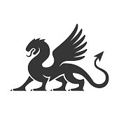 Heraldic Dragon Silhouette Logo on White background. Vector
