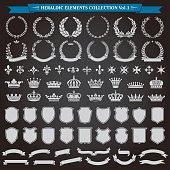 Heraldic elements laurel wreaths, crowns, ribbon banners, shields, royal lily collection vector