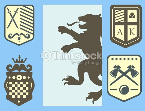Heraldic Lion Royal Crest Medieval Knight Silhouette Vintage King