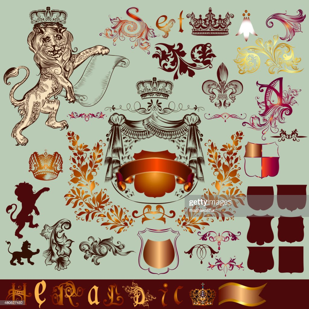 Heraldic set of vector  design elements in vintage style : Vector Art