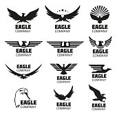 Heraldic symbols with eagle silhouettes. Vector eagle emblems or eagle logos set for company logo or brand logotype with eagle bird