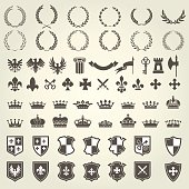Heraldry kit of knight blazons and coat of arms elements - medieval heraldic emblems