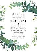 Herbal invitation simple vector vertical frame. Hand painted plants, branches, leaves on white background. Wedding design. Eucalyptus selection natural card. All elements are isolated and editable