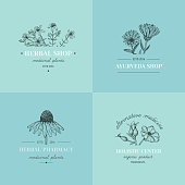 Vector vintage hand drawn herb logos. Alternative medicine, ayurveda, pharmacy, homeopathy, beauty shop, holistic center logos, badges, emblems.