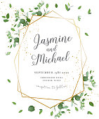 Herbal minimalistic polygonal vector frame.Hand painted plants, branches, leaves on white background.Greenery wedding invitation. Watercolor style.Gold line art.All elements are isolated and editable