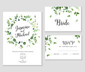 Herbal minimalistic vector frames. Hand painted plants, branches, leaves on white background. Greenery wedding simple invitation. Watercolor style cards. All elements are isolated and editable