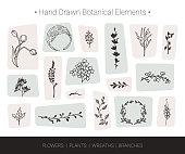 Botanical vector design elements. Hand drawn vector silhouettes of flowers, herbs, wreaths, tree branches. Logo design, wedding invitation, greeting card decor, fashion textile and prints isolated on