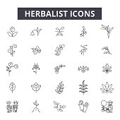 Herbalist line icons, signs set, vector. Herbalist outline concept illustration: herbalist,medicine,natural,health,alternative,nature,herbal,organic