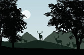 Herd of fallow deer standing under deciduous trees, vector, with sky with sun and space for your text
