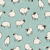 Herd of sheep. Seamless vector pattern. EPS 10.