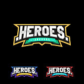 Heroes or Superhero sport text icon. Vector, isolated for t-shirt typography in retro style emblem
