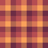 Herringbone pixel plaid pattern vector. Seamless tartan check plaid in raspberry pink, orange, and yellow for poncho, scarf, jacket, blanket, or other textile design.