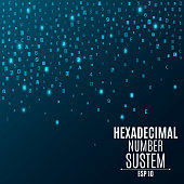 Hexadecimal number system. Abstract, modern background. Glowing numbers and letters are blue. Sparse symbols. Hi-tech and programming. Vector illustration