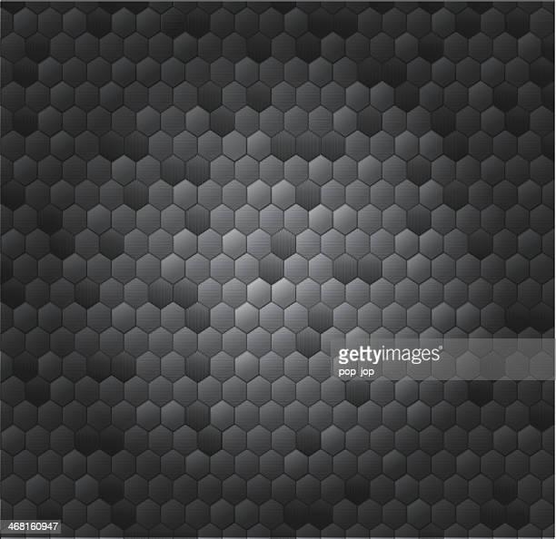 Hexagone carbone fond métallique