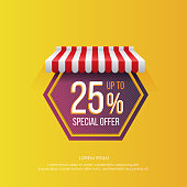 Bright design of tag in hexagon figure shape with promotion of special offer sales up to 25% on vivid yellow background
