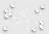 Hexagonal geometric abstract background, creative minimalistic design. Vector illustration concept for molecule, molecular structure, genetic, chemical compounds, chemistry, medicine, science, technol