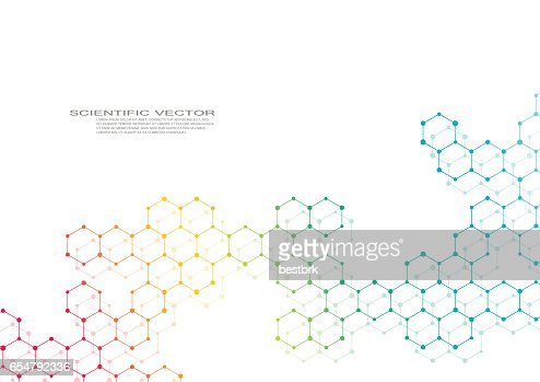 Hexagonal molecule. Molecular structure. Genetic and chemical compounds. Chemistry, medicine, science and technology concept. Geometric abstract background. Atom, DNA and neurons vector : Vector Art
