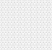Hexagonal seamless pattern with lines and dots, modern stylish vector texture.