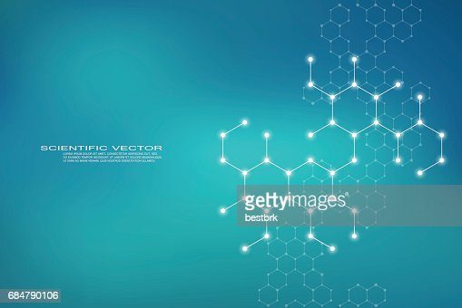 Hexagonal structure molecule dna of neurons system, genetic and chemical compounds, medical or scientific background for banner or flyer, vector illustration : Vector Art