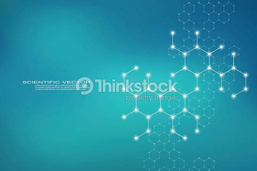 Molécula de estructura hexagonal ADN del sistema de las neuronas, compuestos químicos y genéticos, antecedentes médicos o científicos para cartel o flyer, Ilustración de vectores : arte vectorial