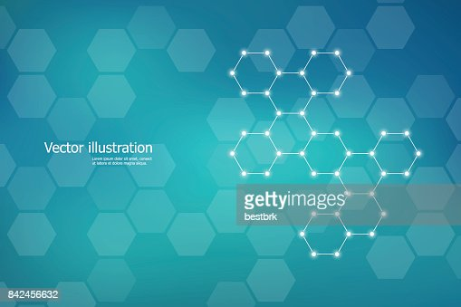 Hexagonal structure molecule dna of neurons system, genetic and chemical compounds. Vector illustration : Vector Art