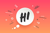 Hi. Banner, speech bubble, poster and sticker concept, geometric style with text Hi. Icon message hi cloud talk for banner, poster, web. White background. Vector Illustration