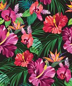 vector exotic floral pattern on black background. for fashion, swimwear, activewear. Amazing palms and flowers.
